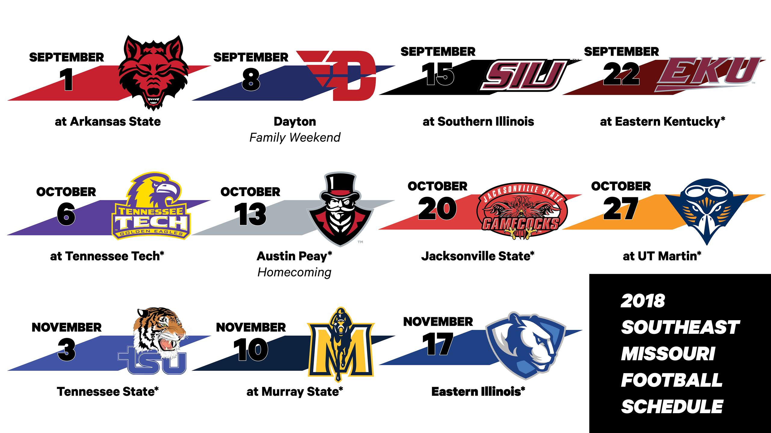 Austin Peay Football Schedule 2019 2018 Football Schedule Announced   Southeast Missouri State